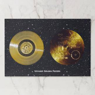 Salvamantel De Papel Disco de oro y cubierta de la nave espacial del