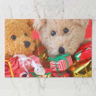 Salvamantel De Papel Dos osos de peluche con los regalos de Navidad