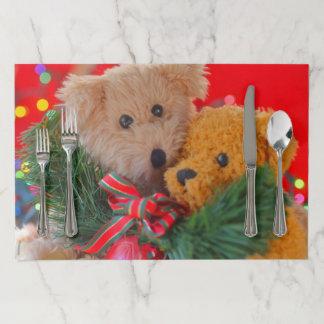 Salvamantel De Papel Dos osos de peluche con verdor y el arco
