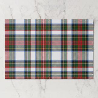 Salvamantel De Papel Esteras de lugar del papel de la tela escocesa del