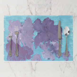 Salvamantel De Papel Flores púrpuras en placemats azules del documento