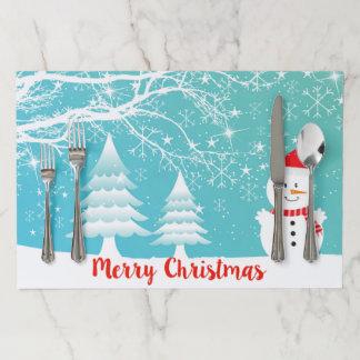 Salvamantel De Papel Muñeco de nieve y árbol de navidad