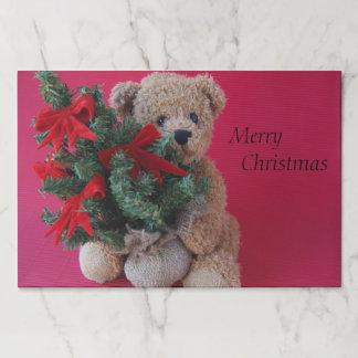 Salvamantel De Papel Oso de peluche con el árbol de navidad