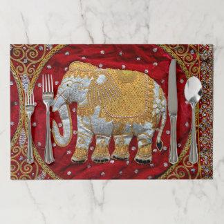 Salvamantel De Papel Rojo embellecido y oro del elefante indio