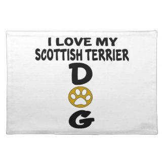 Salvamanteles Amo mis diseños del perro de Terrier del escocés