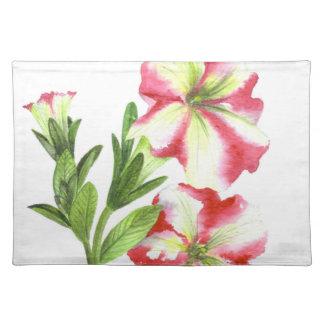 Salvamanteles Arte floral de las petunias rosadas y blancas