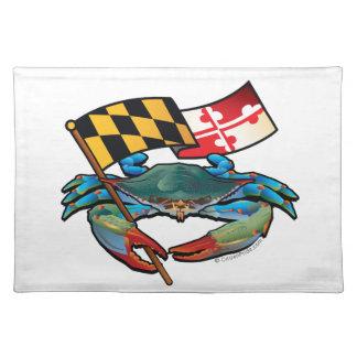 Salvamanteles Bandera de Maryland del cangrejo azul