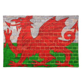 Salvamanteles Bandera de País de Gales en una pared de ladrillo