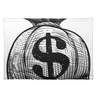 Salvamanteles Bolso del saco o del dinero de la arpillera de la