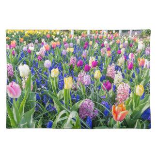 Salvamanteles Campo de flores con los jacintos y el puente de