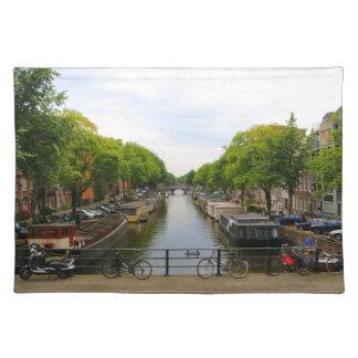 Salvamanteles Canal, puentes, bicis, barcos, Amsterdam, Holanda