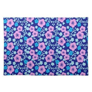Salvamanteles Ciruelo japonés rico del estampado de flores azul