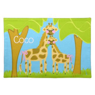 Salvamanteles Cocos el algodón Placemat de la jirafa