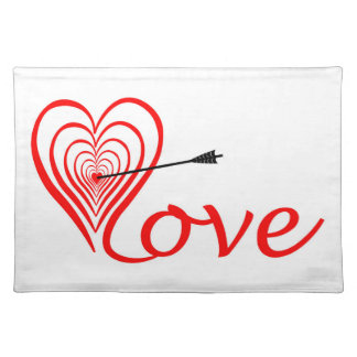 Salvamanteles Corazón amor blanco con flecha