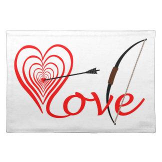 Salvamanteles Corazón amor blanco con flecha y arco