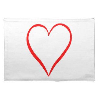 Salvamanteles Corazón pintado en fondo blanco