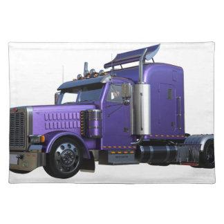 Salvamanteles De la púrpura camión metálico del tractor remolque