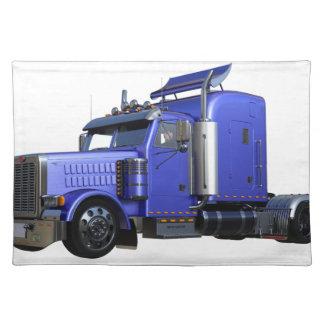 Salvamanteles Del azul camión metálico del tractor remolque semi