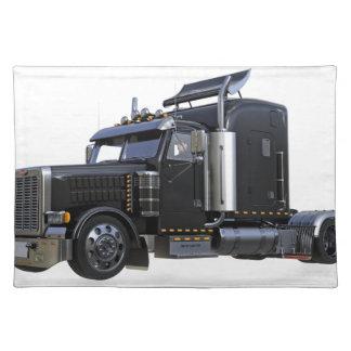 Salvamanteles Del negro camión del tractor remolque semi