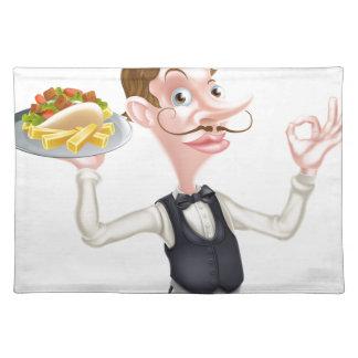 Salvamanteles Dibujo animado camarero perfecto de Kebab y de los