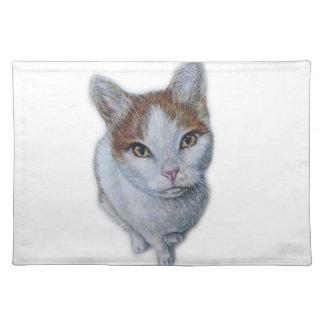 Salvamanteles Dibujo del blanco y del naranja del gato