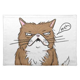 Salvamanteles Dibujo gruñón divertido del gato de Meh