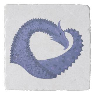 Salvamanteles dragón Azul-gris del corazón en blanco
