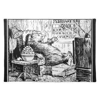 Salvamanteles Ejemplo del blanco del negro del día de la marmota