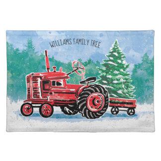Salvamanteles El árbol de navidad rojo del tractor del vintage