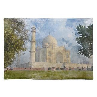 Salvamanteles El Taj Mahal en Agra la India - acuarela del arte