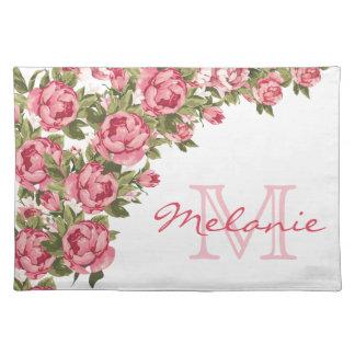 Salvamanteles El vintage se ruboriza los Peonies rosados nombre,