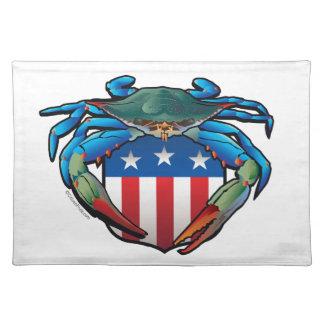 Salvamanteles Escudo de los E.E.U.U. del cangrejo azul