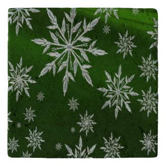 Salvamanteles Estrellas verdes del navidad con el cristal de