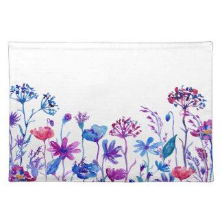 Salvamanteles Flores púrpuras del campo de la acuarela