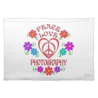 Salvamanteles Fotografía del amor de la paz
