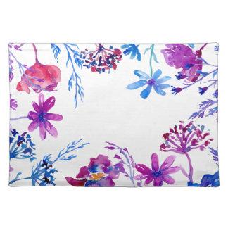 Salvamanteles Frontera púrpura de la flor de la acuarela
