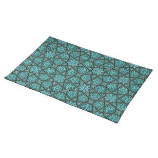 Salvamanteles Geométrico árabe egipcio en azul y gris del