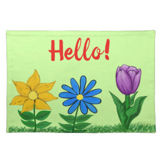 Salvamanteles Hola la primavera florece el lacemat verde