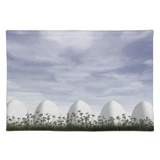 Salvamanteles Huevos de Pascua blancos en naturaleza - 3D rinden