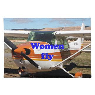 Salvamanteles Las mujeres vuelan: aviones de ala alta