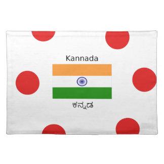 Salvamanteles Lengua del Kannada y diseño indio de la bandera