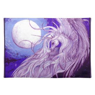 Salvamanteles Lindo púrpura mágico de la luna del unicornio del