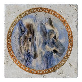 Salvamanteles Lobos azules y blancos del hielo que buscan la