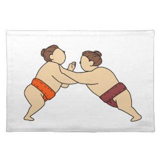Salvamanteles Luchador del sumo de Rikishi que empuja la mono