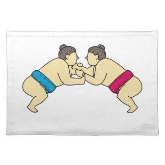 Salvamanteles Luchadores del sumo de Rikishi que luchan la mono