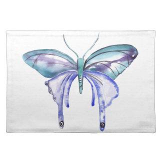 Salvamanteles mariposa púrpura azul de la aguamarina de la