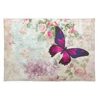 Salvamanteles Mariposa rosada y rosas lamentables del vintage