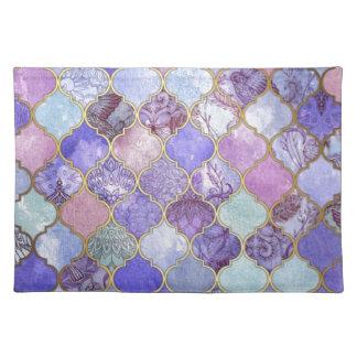 Salvamanteles Modelo marroquí púrpura y azul claro de la teja