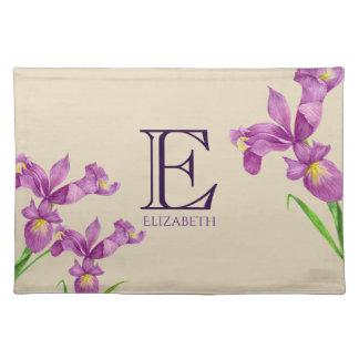 Salvamanteles Monograma floral botánico del iris púrpura de la