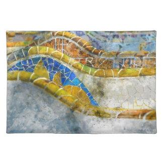 Salvamanteles Mosaicos del banco de Parc Guell en Barcelona